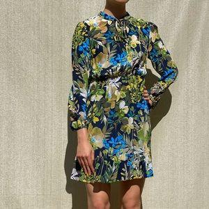 100% Silk JCrew Tropical Print Dress